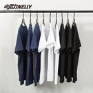 短袖T恤復古百搭純棉純色寬鬆短袖打底衫T恤白色男女體恤潮短袖衣服丅 贝芙莉