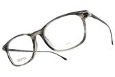 HUGO BOSS 光學眼鏡 HB0989 PZH (透灰-霧黑) 不鏽鋼LOGO膠框 # 金橘眼鏡