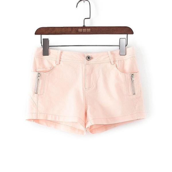[超豐國際]帛春夏裝女裝粉紅色純色側邊拉鏈短褲 40749(1入)
