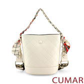 CUMAR  絲巾鍊條2WAY水桶包-白色