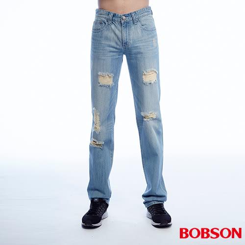 BOBSON 男款低腰刷破直筒褲(1813-58)
