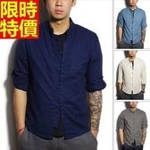 亞麻襯衫-新款復古中國風男七分袖上衣6色67r13【巴黎精品】