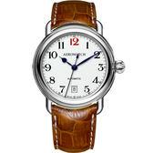 AEROWATCH 復刻紳士時尚機械腕錶-白x棕/40mm A60900AA15