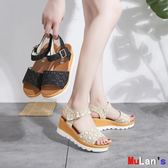 楔形涼鞋 涼鞋 厚底 松糕涼鞋 高跟 坡跟女鞋 伊人閣