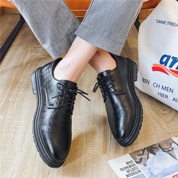 夏季尖頭小皮鞋男韓版潮流透氣西裝鞋子男青少年英倫百搭黑色皮鞋 璐璐生活館