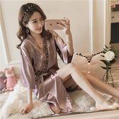 睡裙女短袖夏季仿真絲綢冰絲日式和服V領性感半袖寬鬆睡衣女短裙 【販衣小築】