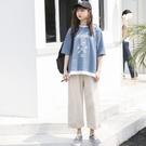 白金天使2019新款夏裝拼接假兩件學生森系上衣寬鬆圓領短袖t恤女 嬌糖小屋