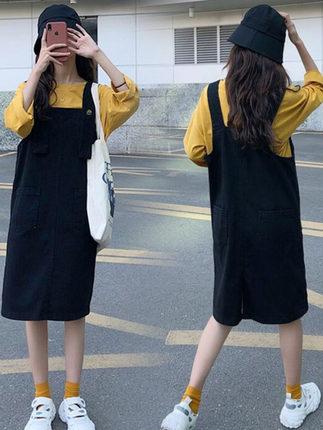2021年新款早秋季大碼女裝歐貨背帶背心連身連衣裙子時尚減齡顯瘦遮肚子網紅兩件套裝初秋款