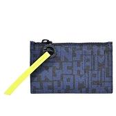 【南紡購物中心】LONGCHAMP LE PLIAGE LGP系列滿版字母薄型零錢包(黑X海軍藍)