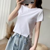 開叉T恤 白色側邊開叉高腰短款短袖T恤女夏 網紅露臍超短小個子漏肚臍上衣-米蘭街頭