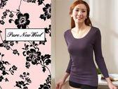 【大盤大】(W718) 女 紫色 防縮 純 羊毛衛生衣 發熱衣 羊毛 內衣 母親節 OL 情人 長輩 送禮 必備