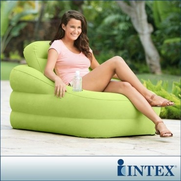 【INTEX】歐式充氣沙發(可拆式靠背)-蘋果綠(68586)