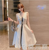 洋裝 洋裝收腰顯瘦年夏季新款氣質寬松中長款v領無袖白色裙子女