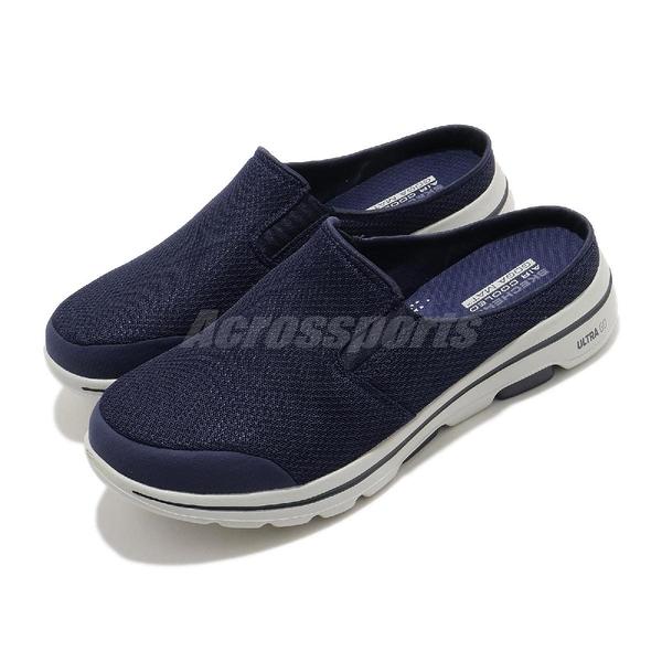 Skechers 懶人拖 Go Walk 5-Exposure 藍 灰 男鞋 拖鞋 輕便套入 【ACS】 55522NVGY
