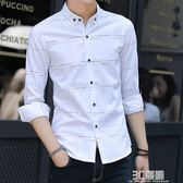 夏季男士長袖襯衫韓版潮流薄款襯衣青年休閒帥氣白寸衫修身打底衫 3c優購