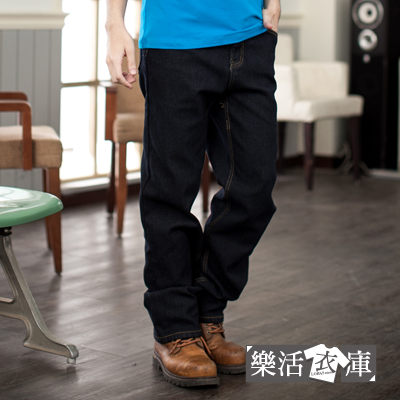 保暖內磨毛伸縮中直筒牛仔褲(黑色)●樂活衣庫【6756】