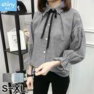 【V2567】shiny藍格子-秋薰芳恬‧綁帶蝴蝶結寬鬆長袖襯衫