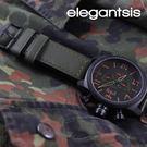 【萬年鐘錶】elegantsis 特戰三軍 背雷帽圖騰  三環皮革  灰x綠  大錶徑 48mm ELJT48-OG07LC