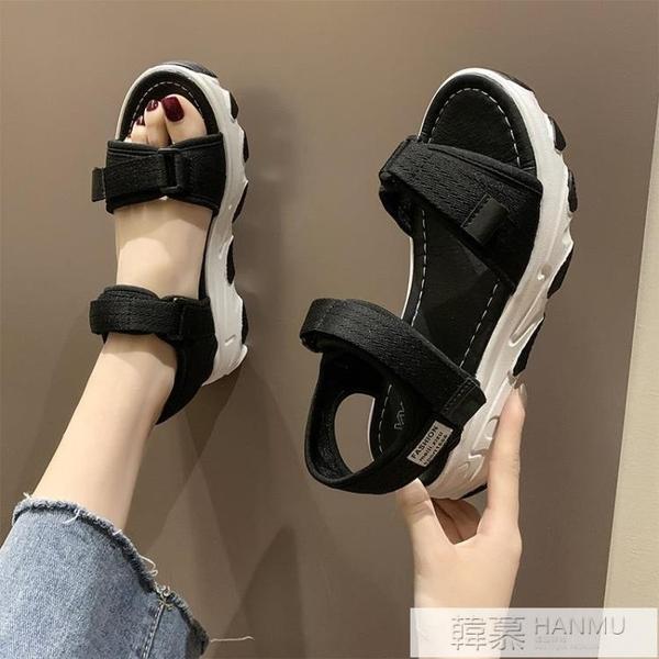運動涼鞋女ins潮2021新款學生百搭夏季女鞋魔術貼鬆糕厚底羅馬鞋 夏季新品
