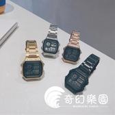 手錶  手表男潮流韓版個性學生多功能運動復古方形小金表電子表  奇幻樂園