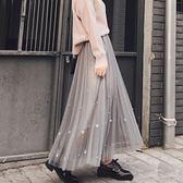 中大尺碼 中長款踝長裙仙女蓬蓬裙釘珠網紗裙ZL1082『夢幻家居』