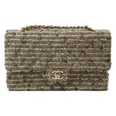 CHANEL 毛呢雙蓋鍊條斜背肩背包 COCO25cm Classic Double Flap Tweed 【BRAND OFF】