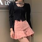 辣妹粉色包臀裙子高腰半身裙女夏季2021新款a字小個子短裙百褶裙 果果輕時尚