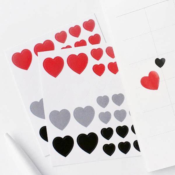 【BlueCat】甜蜜生活系列彩色愛心貼紙 (3張入)