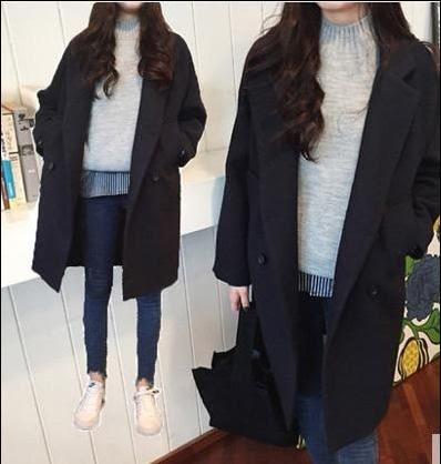 韓系毛呢大衣外套 寬鬆 雙排扣中長板 學院風 外套大衣【L190】