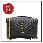 YSL菱格紋山型紋鍊包/黑色487206全新商品