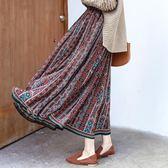 民族風長裙 韓國時尚波西米亞民族風復古印花碎花百褶裙雪紡長款度假半身長裙