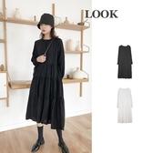 長袖洋裝-圓領寬鬆純色休閒連身裙2色73xk1【時尚巴黎】