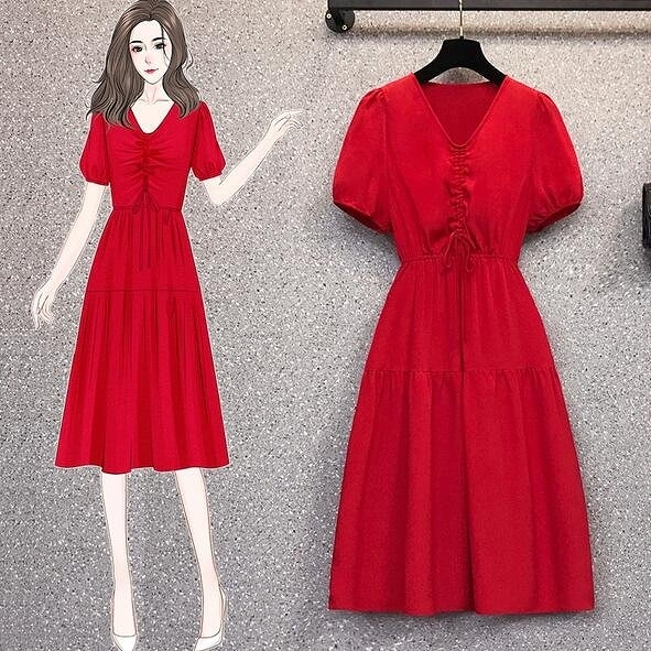洋裝 V領 裙子 中大尺碼L-4XL新款大碼收腰法式顯瘦氣質抽繩流行連身裙4F093-18152.胖胖唯依