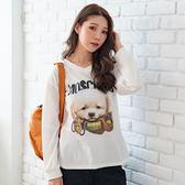 棉T--超萌可愛小狗導盲犬英字印花寬鬆修身舒適V領長袖T恤(白.紅L-3L)-F155眼圈熊中大尺碼◎