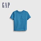 Gap男幼童 布萊納系列 活力純棉純色圓領T恤 669948-藍色