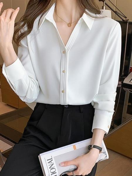 職業襯衫 白襯衫女抗皺韓版ins設計感春季2021年新款長袖上衣雪紡職業襯衣