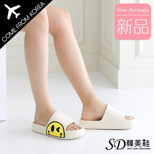 韓國空運 卡通笑臉造型 防水防滑Q軟大底 市內外涼拖鞋【F713265】版型正常/SD韓美鞋