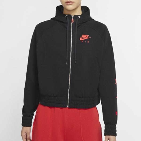 NIKE AIR 女裝 外套 連帽 棉質 休閒 慢跑 健身 口袋 印花 黑紅【運動世界】CU5443-013