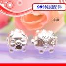 銀鏡DIY S999純銀材料配件/3D硬銀可愛Q版招財金錢豬.銅錢造型生肖豬穿式墜(小款)~適合手作串珠