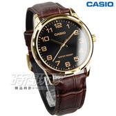 CASIO卡西歐 MTP-V001GL-1B 男錶 指針錶 金x黑 男錶 防水手錶 礦物玻璃 皮革錶帶 日常生活防水