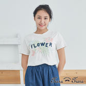 【Tiara Tiara】百貨同步 清淺花葉英字短袖棉T(白/黃)