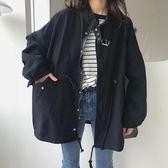 工裝外套女2018秋季新款韓版寬鬆bf學生立領港風ulzzang短款風衣 卡米優品