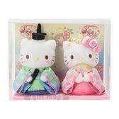 〔小禮堂〕Hello Kitty 女兒節絨毛玩偶娃娃組《2入.粉綠》擺飾.玩具.雛祭娃娃 4901610-64161