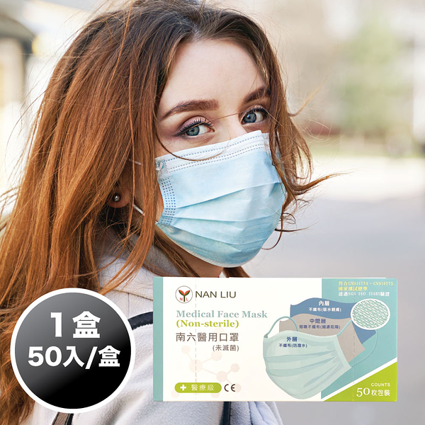 【南六】醫療級 平面口罩 成人用 50片/盒 (薄荷綠) 台灣製造 MD雙鋼印【卜公家族】