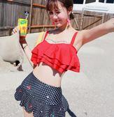 黑五好物節 分體泳衣女性感小胸聚攏紅色裙式高腰韓國泡溫泉小香風保守游泳衣
