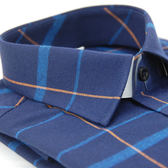 【金‧安德森】藍黃大線格保暖窄版長袖襯衫