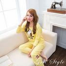 可愛奧莉維 厚棉兩件式睡衣(黃色) 居家...