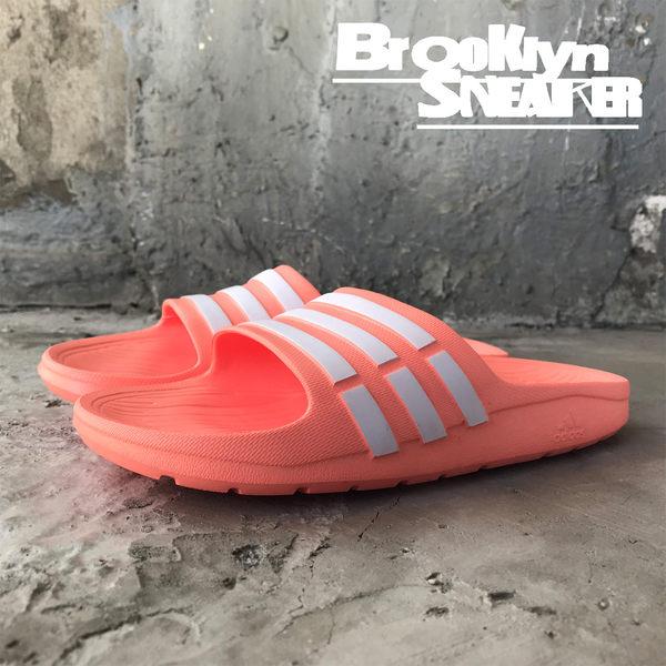 Adidas Duramo Slide 粉橘 白條 防水 海灘 女 拖鞋 (布魯克林) CP9384
