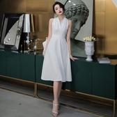 禮服 宴會晚禮服中長款夏氣質法式名媛白色洋裝小禮服洋裝女平時可穿