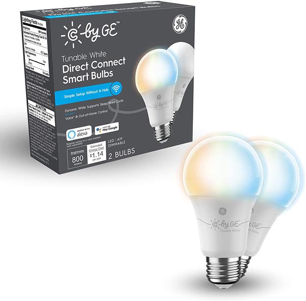 燈泡 C by GE Tunable White Direct Connect Light Bulbs (2 A19 Smart LED Bulbs), 60W Replacement